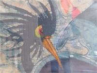Interesting Oriental Watercolour Painting of Bird