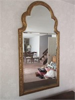 Ornate Gilded Hall Mirror with Beveled Glass