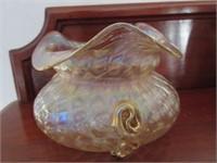 Early Carnival Glass Ruffled Edge Vase