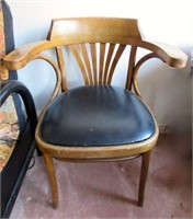 Mid Century Wooden Arm Chair with Vinyl Upholstery