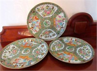 Grouping of 3 Porcelain Handpainted Oriental Plate