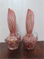 Pair of Blown Glass Victorian Vases