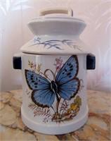Ceramic Butterfly Painted Milk Jug Decorative Piec