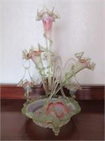 RARE Antique Victorian Vaseline Glass Epergne- 2'