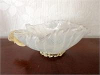 Antique Art Glass Ruffled Edge Candy Bowl