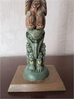 Ceramic Hand Painted Tribal Totem Pole Sculpture