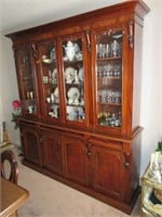 Early 1800's Cherry Breakfront China Cabinet