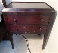Vintage Wooden Double Drawer Side Table