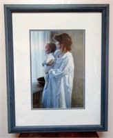 Framed and Matter Litho of Mother and Child