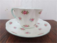 "Porcelain SHELLEY ""Rosebud"" Tea Cup and Saucer"
