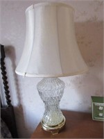 Vintage Glass and Brass Base Lamp