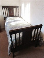 Antique Victorian Barley Twist Single Bed Frame