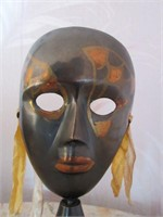 Antique Handpainted Brass Mask