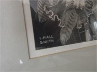 Pair of Framed and Matted L.HALL Lithos
