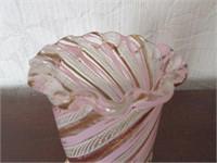 Antique Art Glass Ruffled Edge Vase