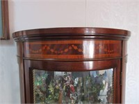 Antique Mahogany Curved Curio Cabinet