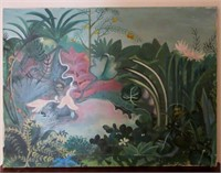 Oil on Stretched Canvas of Whimsical Rainforest Sc