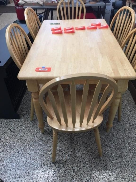 Butcher Block Table 6 Chairs 35x58 Massart Auctioneers