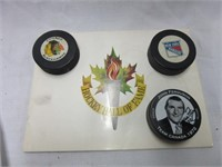 Vintage Hockey Pucks and Hall of Fame Book