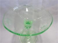 Green Cornflower Stemmed Candy Dish