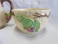 Porcelain WADE Creamer and Sugar Bowl