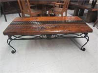 Cast Iron Coffee Table with Rustic Wooden Surface