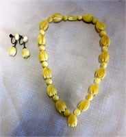 Hand Carved Ivory Beaded Necklace and Earring Set