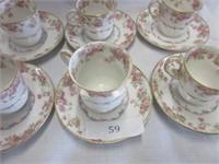 6 Matching Limoges Porcelain Tea Cups
