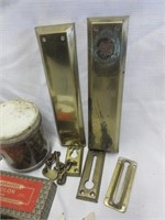 Brass Door Hardware, Old Nails and Metal Name Plat