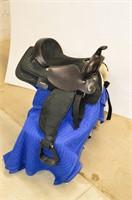 Black Leather / Synthetic Western Saddle