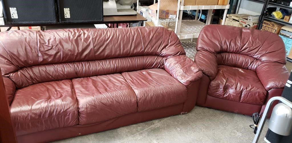Leather Sofa And Chair Used In