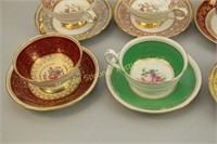 EIGHT ASSORTED ENGLISH CUPS AND SAUCERS