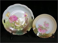 "Rose decorated 10.5"" handled plate, 8"" plate,"