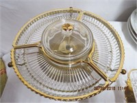 Gold decorated 4 section lazy susan,