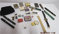 Silk coin purse, RCAF pins, pill box, lighters-