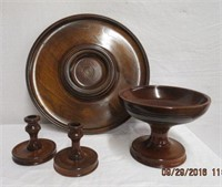 Wood serving tray, pedestal bowl, 2 candle holders