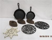 """2 Iron frying pans 8.5"""", 6.75"""", 3 sad irons,"""