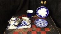 Blue Porcelain Creamer Sugar, Plates, Coffee Cup