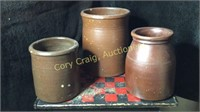 3 Brown Stone Ware Crocks
