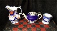 Blue Coffee Cup, Ornate Tea Pot, Pitcher With