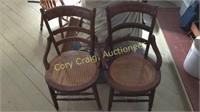2 Cane Bottom High Back Chairs