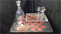 5 Champagne Glasses, Clear Glass Server Plate,