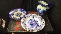 Blue Porcelain Pitcher, Plate, Blow