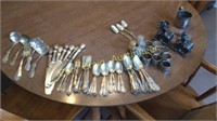 Silver plate Spoons, Knives, Napkin Holders, Cup,