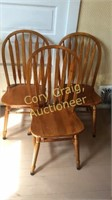 3 Oak Chairs