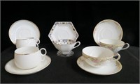 5 Nippon hand painted cups and saucers