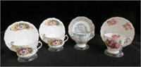 4 Bone china cups and saucers