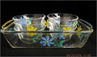 Floral decorated Fire King loaf pan and 6 custard