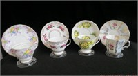 4 Bone china cups and saucers,