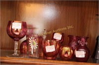 NINE PIECES OF ASSORTED CRANBERRY GLASS
